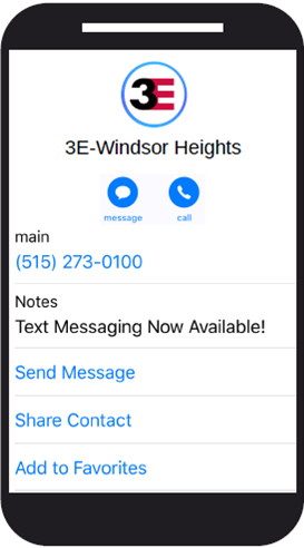 3E Texting Windsor Heights